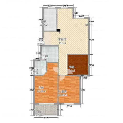 北景园荷风苑3室2厅2卫1厨120.00㎡户型图