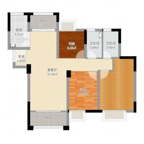 建鑫中央公馆2室2厅2卫1厨103.00㎡户型图