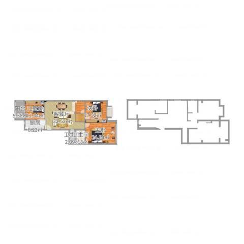 紫薇花园3室2厅2卫1厨136.00㎡户型图