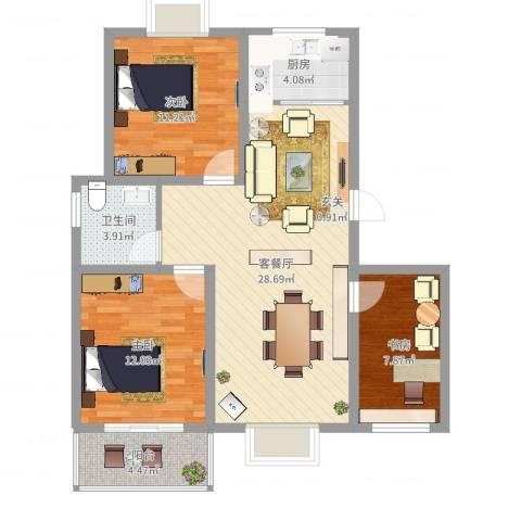 东方华城3室2厅1卫1厨90.00㎡户型图