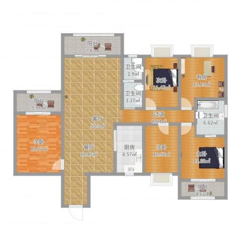 天一康园5室1厅3卫1厨203.00㎡户型图