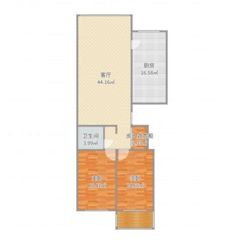 东升江畔2室1厅1卫1厨127.00㎡户型图
