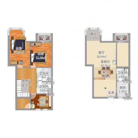 跃界3室2厅3卫1厨130.00㎡户型图