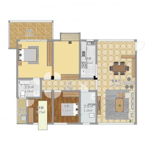 华盛世纪新城2室2厅3卫1厨147.00㎡户型图