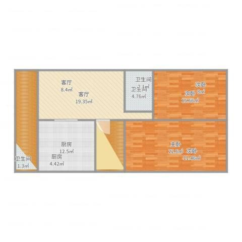 山水文园一期2室1厅1卫1厨113.00㎡户型图