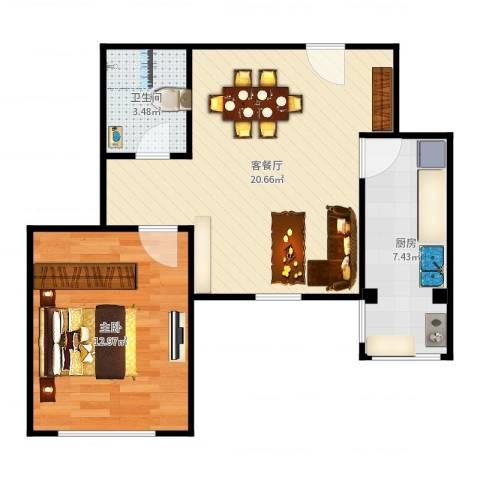 东城家园1室2厅1卫1厨56.00㎡户型图