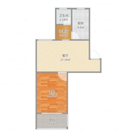 盛桥二村1室1厅1卫1厨53.00㎡户型图