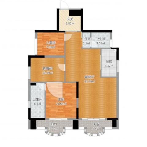 御峰臻品2室2厅2卫1厨125.00㎡户型图