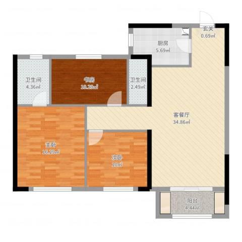 万科蓝山3室2厅2卫1厨111.00㎡户型图
