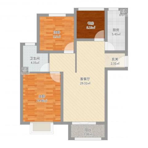 泰古・香槟郡3室2厅1卫1厨91.00㎡户型图