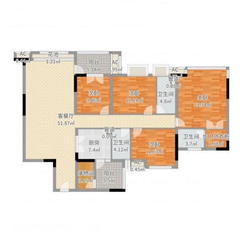 松山湖紫檀山别墅4室2厅3卫1厨184.00㎡户型图