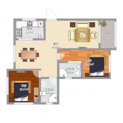 上城uptown2室1厅2卫1厨82.00㎡户型图