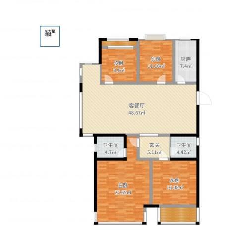 东方星河湾4室2厅2卫1厨176.00㎡户型图