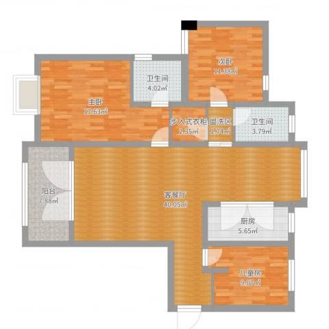东湖怡景园3室2厅2卫1厨129.00㎡户型图