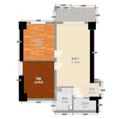 兴庆宫2室2厅1卫1厨93.00㎡户型图