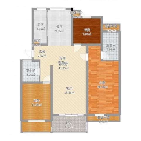 亚厦风和苑3室2厅2卫1厨135.00㎡户型图