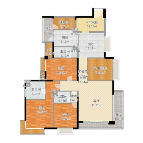 中海银海湾3室2厅3卫1厨251.00㎡户型图