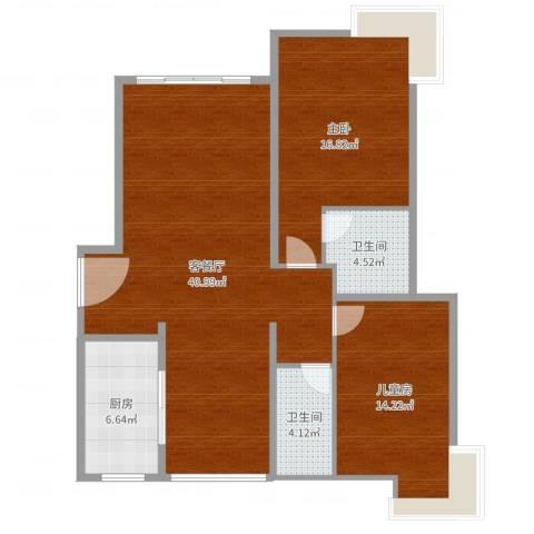 古北国际花园2室2厅2卫1厨109.00㎡户型图