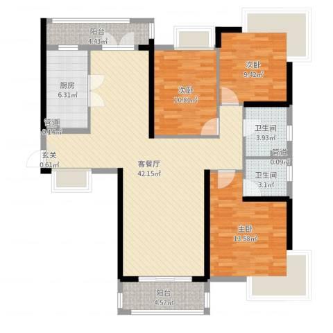 开平海逸华庭3室2厅2卫1厨123.00㎡户型图