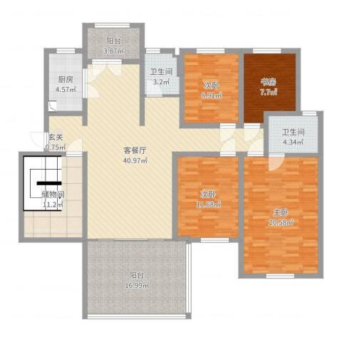 和源壹号公馆4室2厅2卫1厨168.00㎡户型图