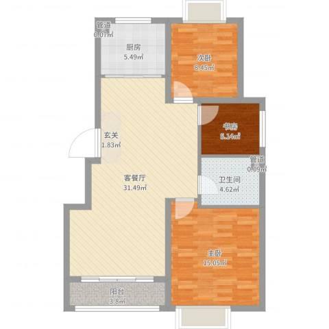 格林公寓3室2厅1卫1厨93.00㎡户型图