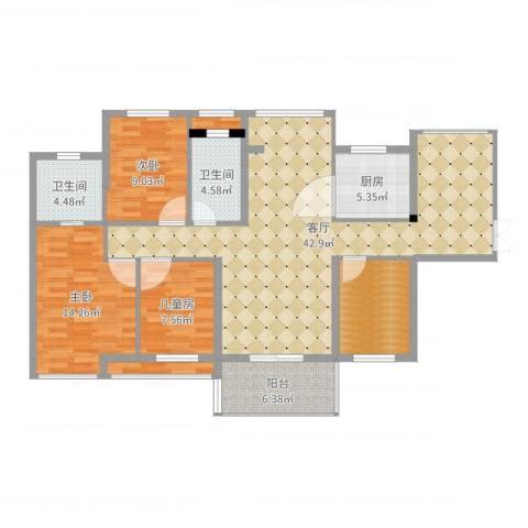 锦地繁花3室1厅2卫1厨130.00㎡户型图