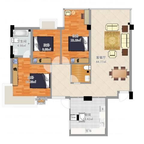 鸿阁一号3室2厅1卫1厨133.00㎡户型图