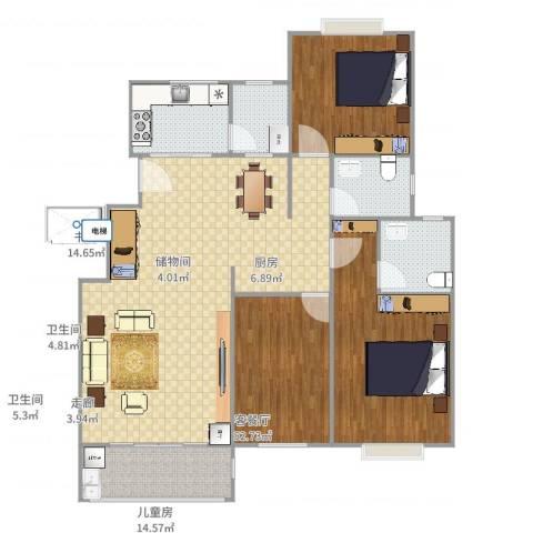 金鼎公寓3室2厅2卫1厨176.00㎡户型图