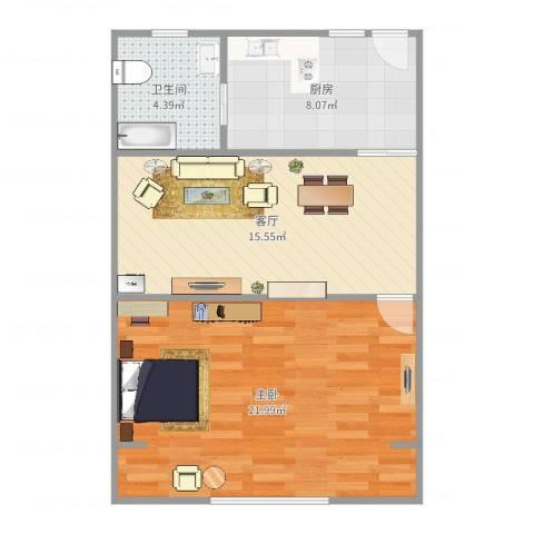 上焊大楼1室1厅1卫1厨62.00㎡户型图