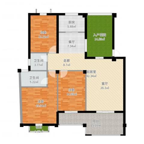 东辰阳光清华3室1厅3卫1厨169.00㎡户型图