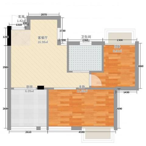 晓园新村2室2厅1卫1厨59.00㎡户型图