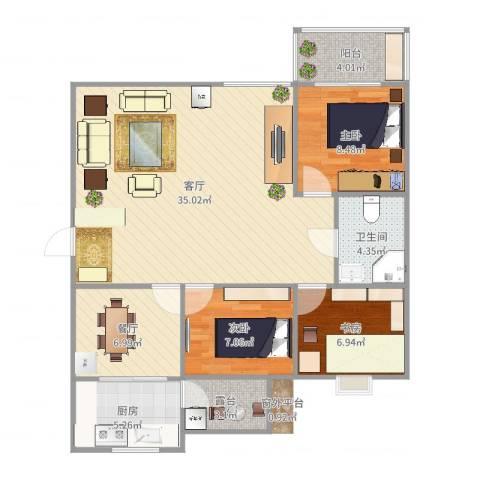 龙泉花园3室2厅1卫1厨102.00㎡户型图