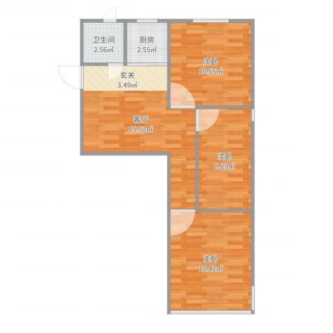 控江路645弄小区3室1厅1卫1厨65.00㎡户型图