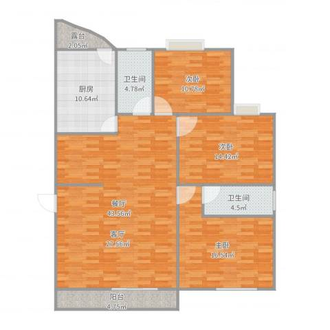 恒福湖景湾3室1厅2卫1厨140.00㎡户型图