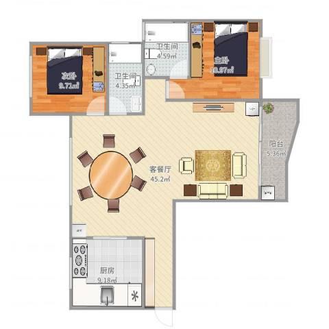 东方花园2室2厅2卫1厨112.00㎡户型图