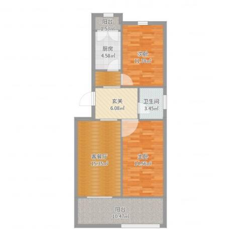 乔庄北街2室2厅1卫1厨87.00㎡户型图