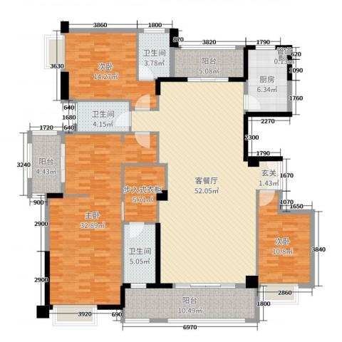 金龙华侨城3室2厅3卫1厨180.00㎡户型图