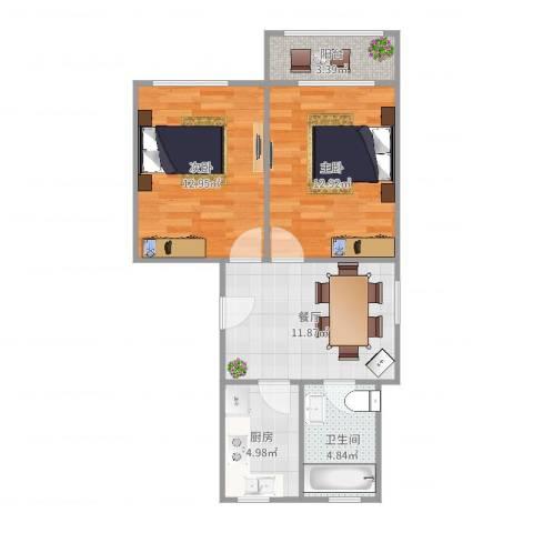 康乐小区(徐汇)2室1厅1卫1厨64.00㎡户型图