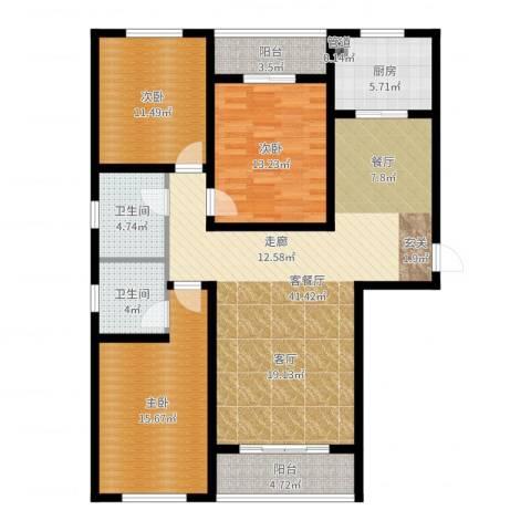 上城水岸3室2厅2卫1厨131.00㎡户型图