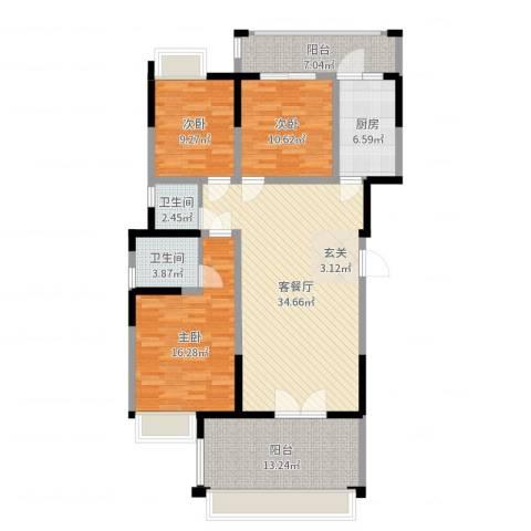 香槟庄园3室2厅2卫1厨130.00㎡户型图