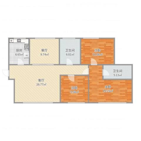 西雅图观海苑3室2厅2卫1厨114.00㎡户型图