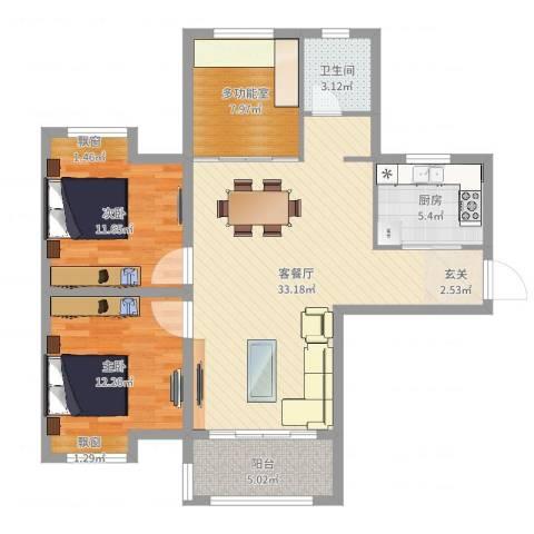 琥珀・新天地2室2厅1卫1厨98.00㎡户型图