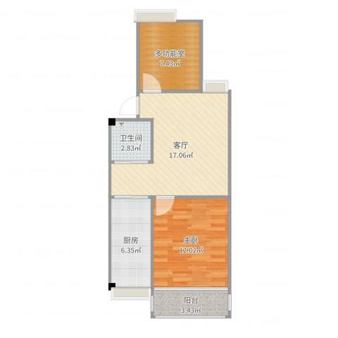 天悦花园1室1厅1卫1厨61.00㎡户型图