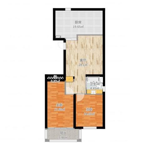 凯旋公寓2室1厅1卫1厨113.00㎡户型图
