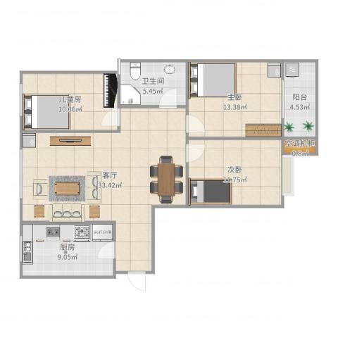 九州方圆国际3室1厅1卫1厨119.00㎡户型图