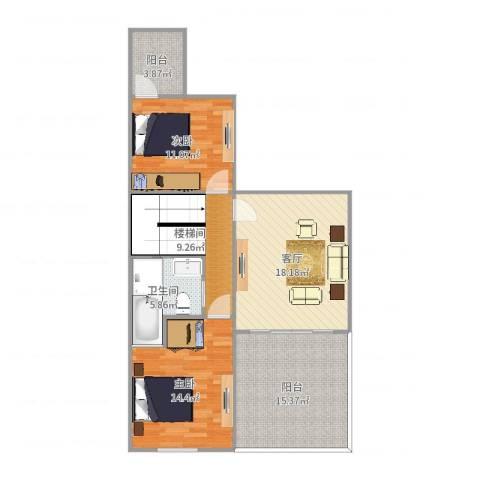世茂・萨拉曼卡-C2-二层2室1厅1卫1厨98.00㎡户型图