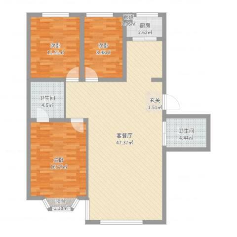 月潭壹英里3室2厅2卫1厨120.00㎡户型图