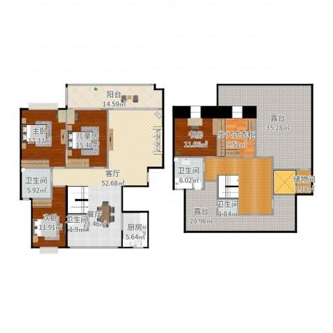 中天瑞景城4室1厅4卫1厨295.00㎡户型图