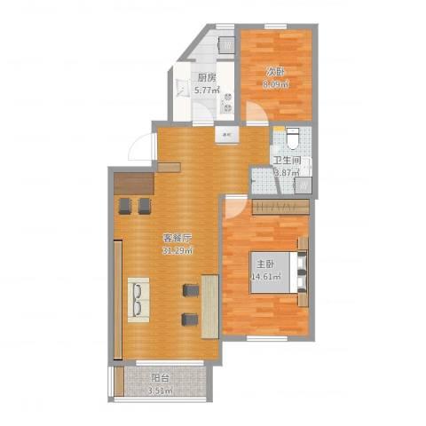 阳光乐府2室2厅1卫1厨90.00㎡户型图