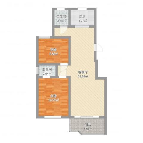 2008新长江广场2室2厅2卫1厨83.00㎡户型图